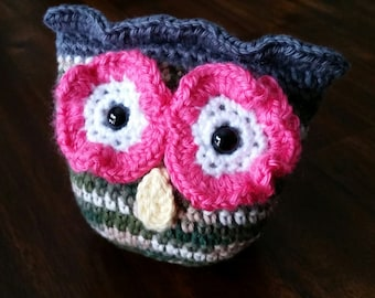 Crocheted Sage Ombre, Grey and Pink Owl Amigurumi