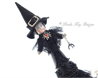 Witch Doll Tree Topper Assemblage Art Doll Tree Topper Assemblage Art Doll OOAK Sculpted Lorelie Kay Designs