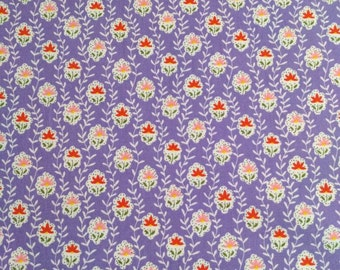 Lilac Floral 100% Cotton Poplin - Fabric, Girls Dress, Ladies Dress, Handbags, Craft Supplies, Tea Dresses, Vintage Dresses, Girls Skirt