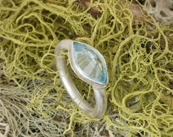 Topaz ring, Blue topaz, recycled silver, 3.5 carat topaz, silver ring, ethical ring, handmade,  gifts for her, Green Jeweler
