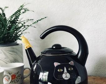 Vintage Black Cat Teapot Tea Kettle, Kitty Cat Kettle, Bird Whistle, Cat Lover Decor, Black and White Cat