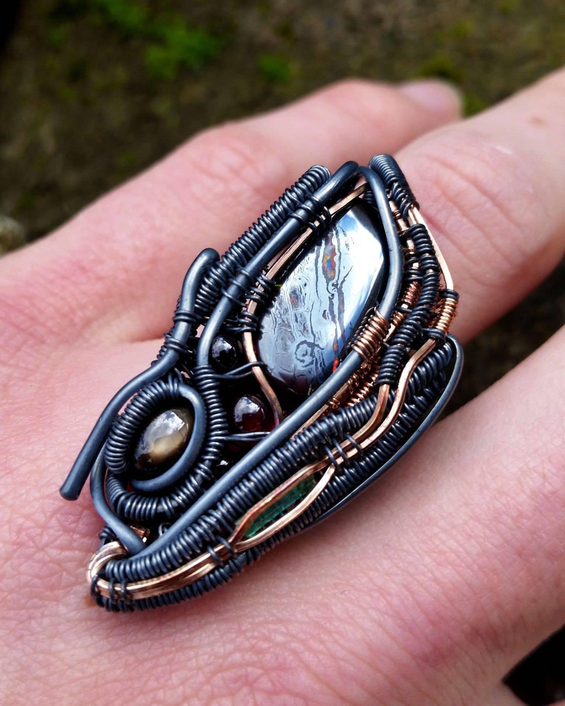 Biomechanical Ring Alien Art Heady Wirewrap