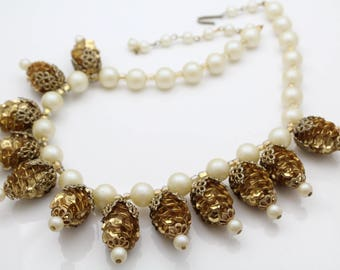"""Bold Vintage 18"""" Necklace With Faux Pearls and Sequin Pine Cones. [11908]"""
