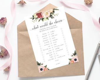 What Would She Choose Wedding Game, Printable Would She Rather Bachelorette Game, Floral Bridal Shower Game, Bachelorette Games, flo-8