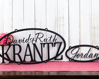 Custom Name Metal Signs | Family Name | Child Name | Metal Wall Art | Custom Sign | Personalized Sign | Anniversary Gift
