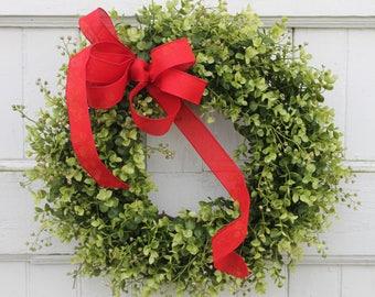 Red Wreath, Outdoor Wreath, Front Door Wreath, Boxwood Wreath, Summer Wreath, Boxwood Wreath with Red Bow, Greenery Wreath, Wreath, Wreaths