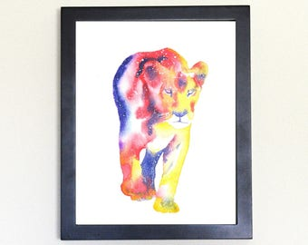 Lioness Galaxy Spirit Totem Animal Art Print Watercolor 8x10