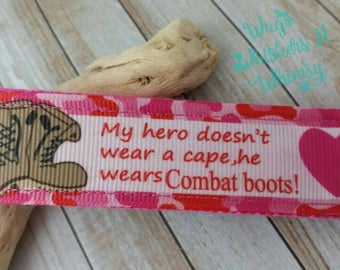My Hero Wears Combat Boots Keychain Keyfob -- Proceeds to Animal Charity