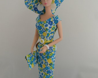 Silkstone Barbie Clothes 12 Inch Doll Clothes Silkstone Doll Dress Mod Blue Daisy Sheath with Big Crownless Hat, Envelope Bag and Jewelry