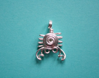 Wire Crab Pendant, Silver plated copper crab necklace