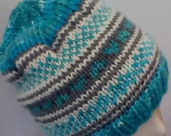 Little Hearts Hat in Gray, Blue and Cream