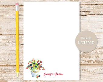 personalized notepad, note pad . berries notepad . watercolor raspberry, blackberry . fall fruits personalized stationery . stationary gift