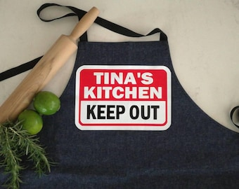 Denim Cross-over Bib OR Waist Apron Keep Out Personalised Design.