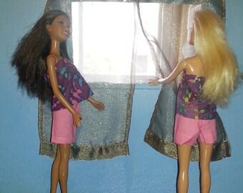 Handmade Barbie Doll Curtains Custom Curtains Sheer Curtains Decorator Curtains Dollhouse Curtains Handmade Curtains for dolls