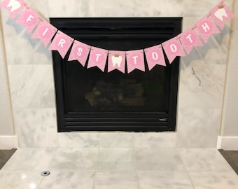 First tooth banner, Teething party banner, teething banner, first tooth party, first tooth banner, custom banner, pink party decorations