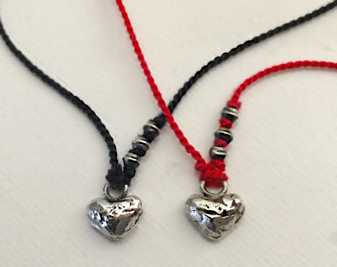 Dainty Heart Necklace on German silk