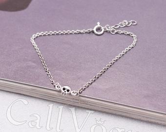 Mini Skull 925 Sterling Silver Bracelet, Womens silver chain Bracelet