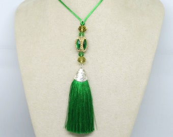 Green Gold Tassel Pendant , Boho Pendant, Beaded Pendant, Pendant Necklace ,Tassel Pendant ,Handmade Jewellery ,Wearable Art ,OOAK,