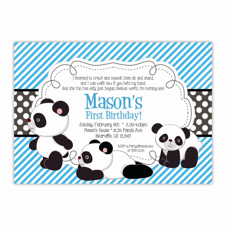 Panda Invitation Blue Stripes Black Polka Dots Baby Panda