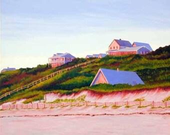 """Cape Cod Seascape TRURO Houses on Cornhill Beach 8x10"""" Matted Print"""