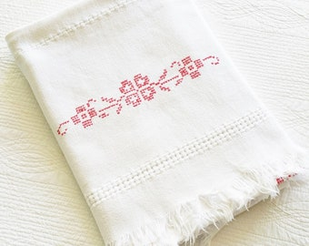 Vintage Cottage Home Snow White and Pomegranate Red Floral Embroidered Cross Stitch Table Linen, Olives and Doves