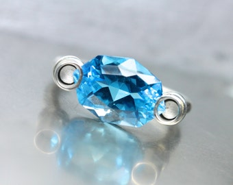 Modern Fancy Cut Blue Topaz Silver Ring Unique Architectural Statement Bright Neon Floating Gemstone Design November Birthstone - Electric