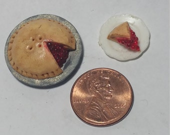 1:12 Scale Cherry Pie, Miniature Cherry Pie