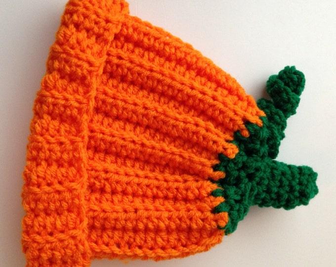 Pumpkin Hat - 0 to 3 Months - Baby Pumpkin Hat - Halloween - Handmade Crochet - Ready to Ship
