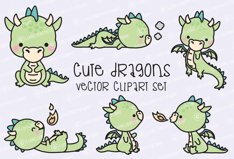 premium vector clipart kawaii dragon cute baby dragons rh etsy com cute baby dragon clipart cute dragon clipart black and white