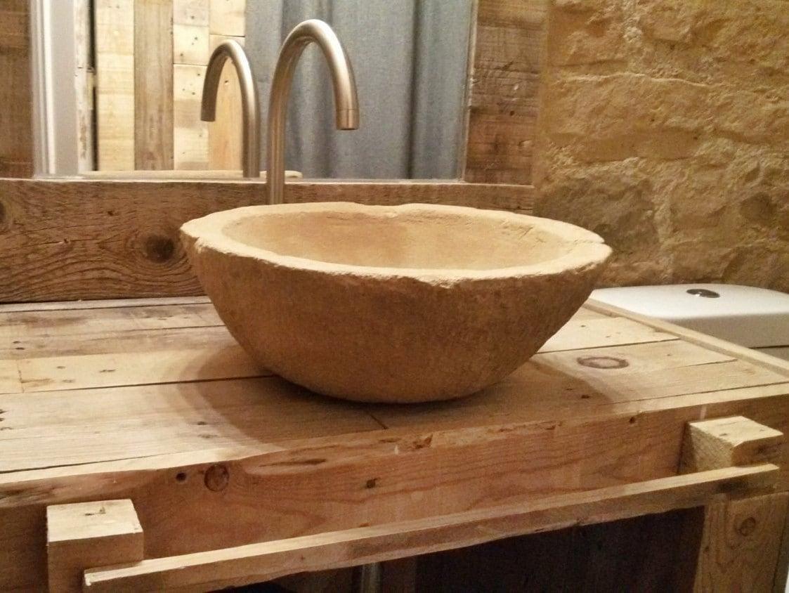 Lavabo de cemento hecho a mano mueble artesano imitaci n a for Lavamanos rusticos de madera