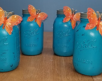Rustic/Farmhouse Spring/Summer Mason Jar with Butterfly