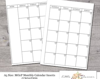A5 Size UNDATED MONTHLY CALENDAR for Filofax and Kikki K Style Planners