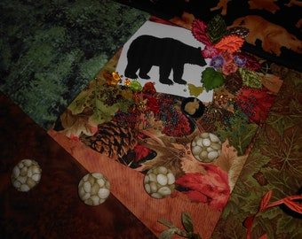 """Crazy Quilting Kit with Embellishments Woodland Walk-"""" The Bear"""""""