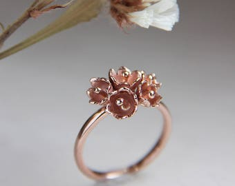 Romantic engagement ring, flower engagement ring, rose gold ring, lily of the valley ring, proposal ring, promise ring, delicate ring, 14K