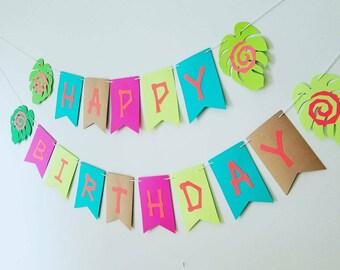 Moana birthday banner,Moana banner,Moana party banner, tropical birthday banner,Moana inspired birthday party decor,tropical birthday banner