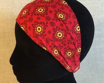 Fitness Headbands for Women- Red Flowers - Mothers Day Gift Cotton Fabric Bandana Floral Fabric Wide Headband Head Scarf Workout Head Wrap