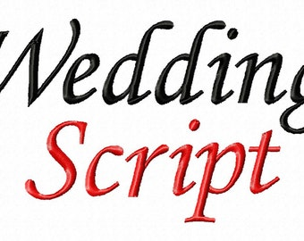 """Wedding Script Machine Embroidery Font - Sizes 1"""",2"""",3"""",4"""" - BUY 2 Get 1 FREE"""