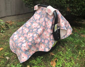 Pink and Gray Flower Car-Seat Cover Canopy