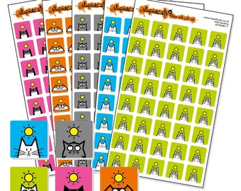 "Sunshine Sticker Bundle - weather planner sticker sheets - square icon stickers 12mm / 0.5"" - 5 sheets of cat stickers"