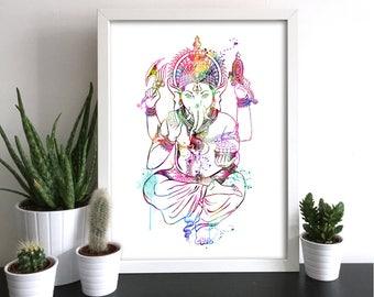 Ganesha Yoga Watercolor Art Print Ganesha Art Hindu Decor Ink Painting Zen Yoga prints Meditation Art Buddha Art Inspirational (Ganesh Nº2)