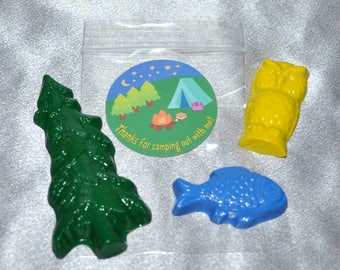 Camping Crayons And Camping Stickers.  Set for 20 Kids.  60 Crayons,  Owl Crayons, Tree Crayons And Fish Crayons.  Camping Party Favors