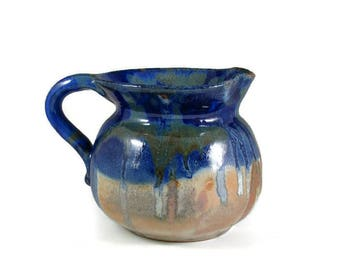 Large Ceramic Pitcher - Muliti Colored Jug - Over a Quart - Handmade Wheel Thrown Clay Pottery - Ships Today