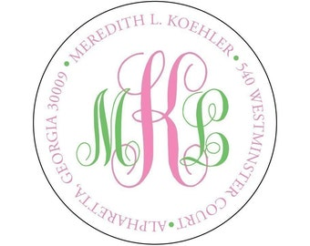 Two Color Monogrammed Round Address Label Stickers - Monogram Stickers