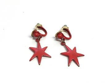 Vintage 1960s Red Star Earrings