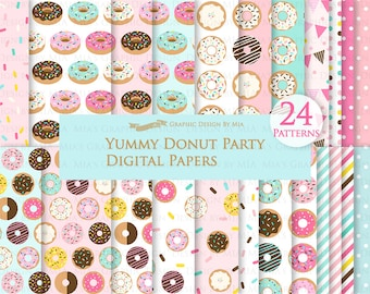 Donut, Yummy Donut Party, Doughnut, Donut Sprinkle Digital Paper Pack - Instant Download - DP064