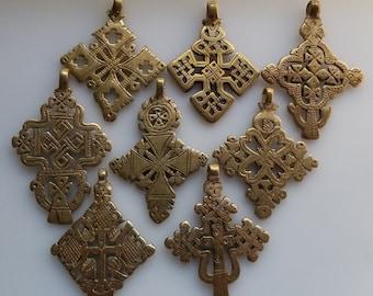 SALE - 8 Brass Ethiopian Coptic Crosses, Ethiopian Cross, African pendant, African cross, cross pendant