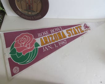 1987 Arizona State Vintage Football Pennant Banner College Football Sport Banners Michigan Rose Bowl Pennant Flags Vintage Sport Pennants