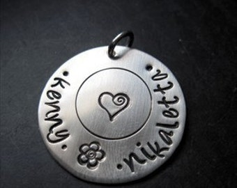 Personalized Silver Charm or Pendant 1 Inch - Gift for her - Jewelry - Hand Stamped Charm - Personalized Pendant - Custom Jewelry