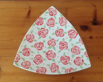 Hand Painted Ceramic Triangle Plate - Rose Design