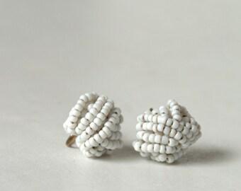 White Beaded Earrings, White Earrings, Vintage Earrings, Screw On Earrings,  For Weddings, Summer Earrings,